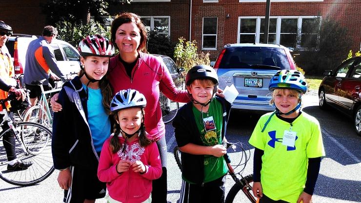 Pedal Harder kids w/ beloved teacher, Sra. Anders